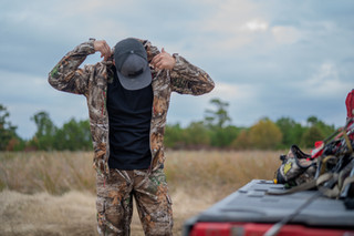 Brandon Adams suits up for evening hunt