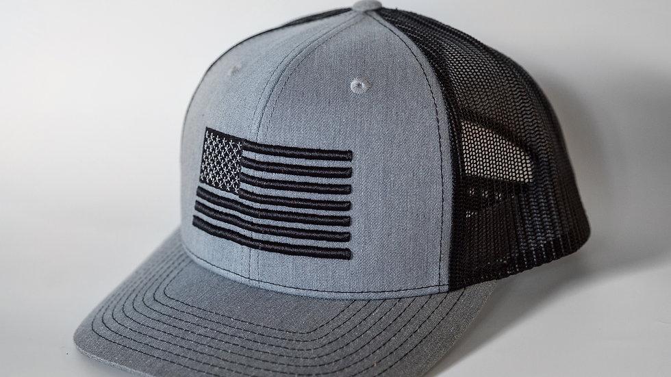 American Flag Heathered Grey/Black Mesh