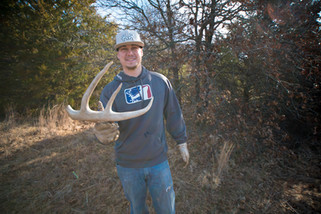 Brandon Adams with whitetail shed