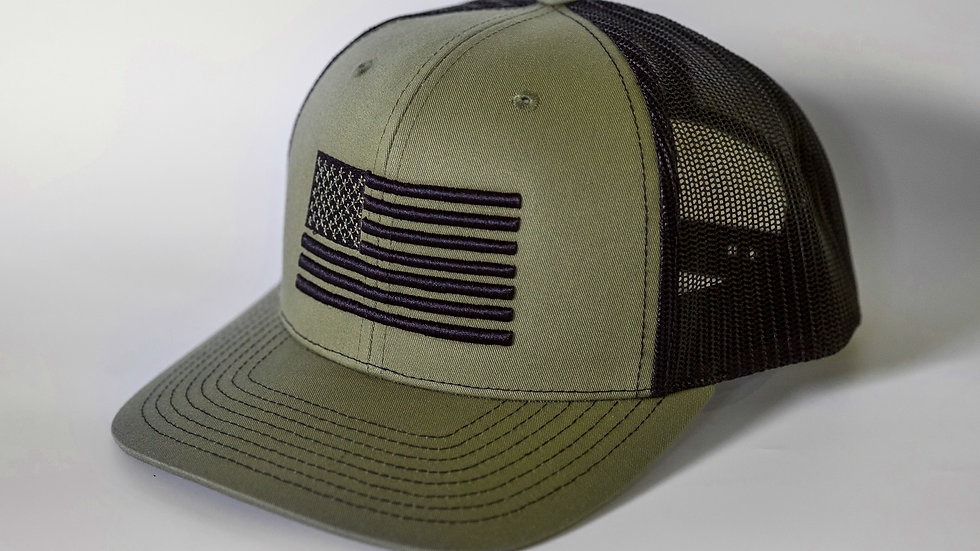 American Flag Military Green/Black Mesh