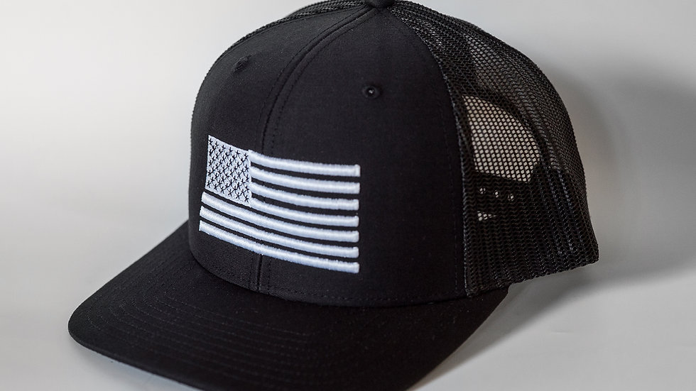 American Flag Black Mesh