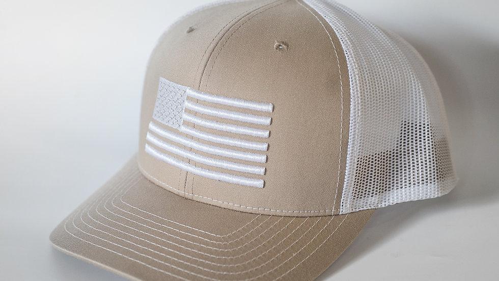 American Flag Tan/White Mesh