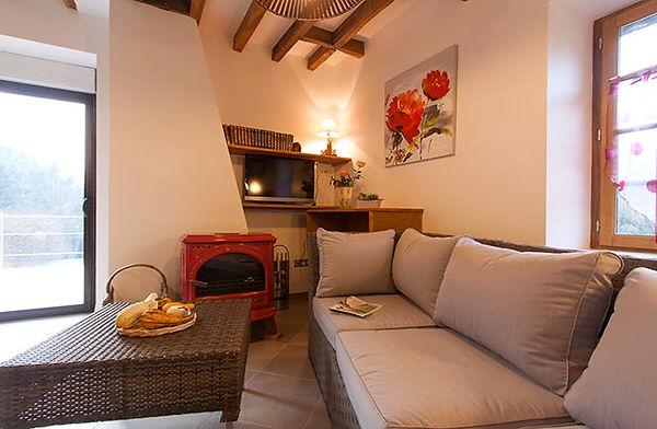 Salon avec canapé et poêle