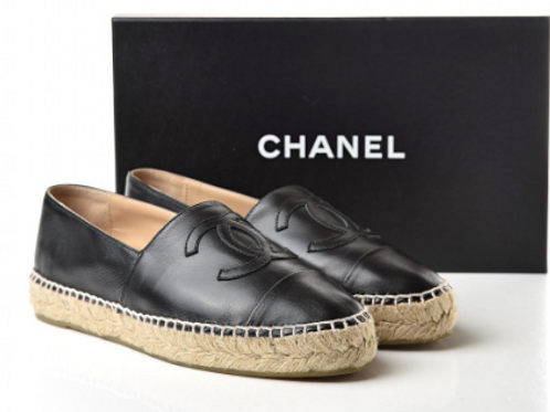 Chanel Black Lambskin Espadrilles