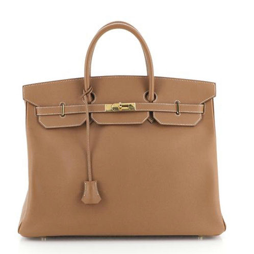 Hermes Birkin Handbag Gold Courchevel