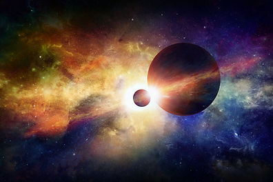 Planet and Moon, galaxy, cosmos