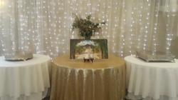 cake table, lighting, decor, banquet facility, outdoor wedding