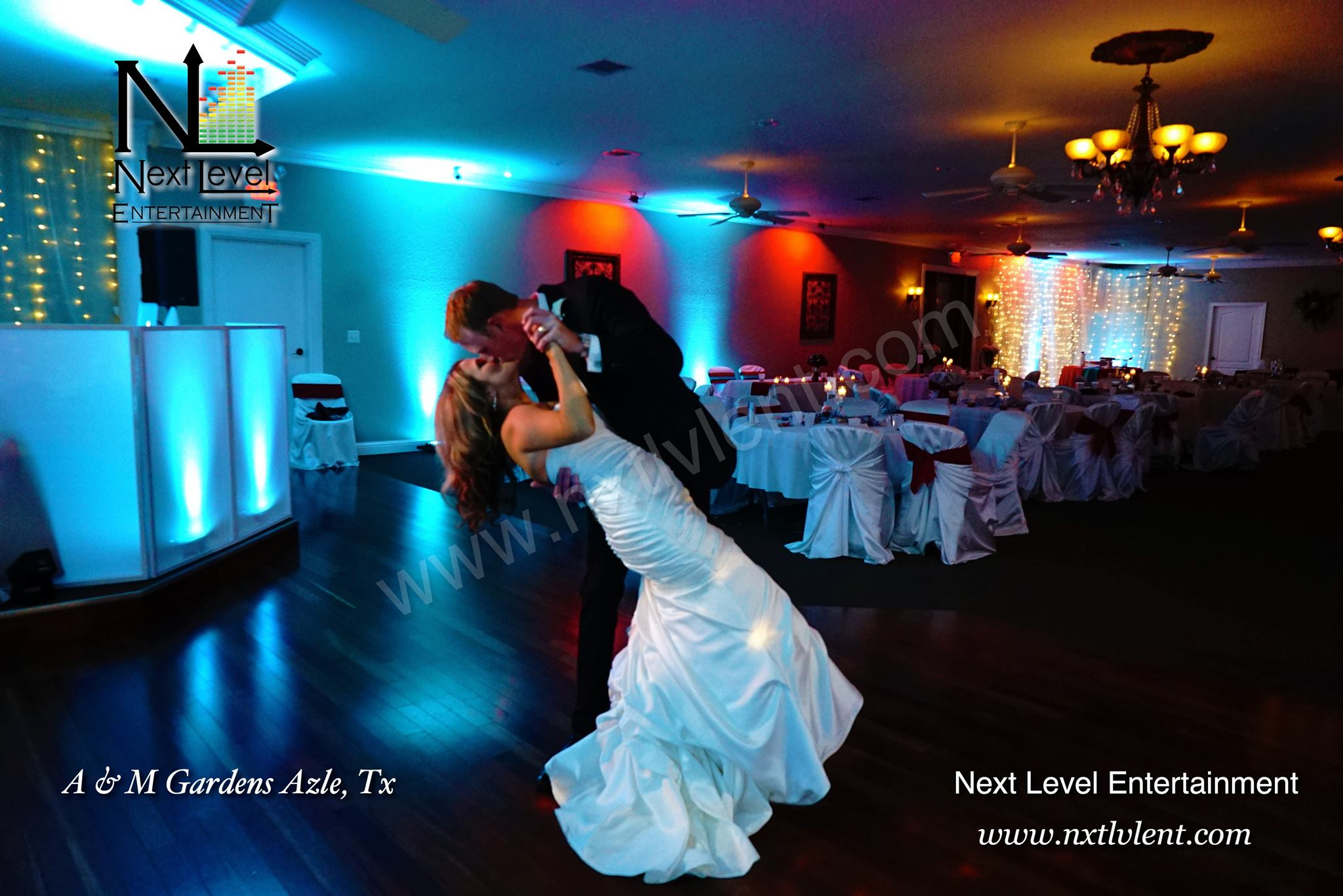 bride and groom kiss, venue banquet hall, near dfw, fort worth, azle