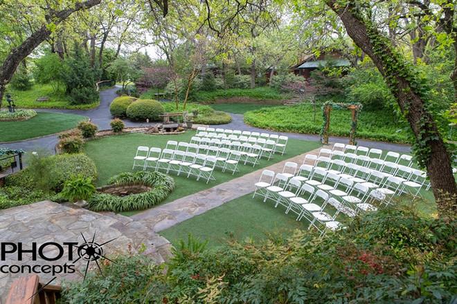 wedding set up in the garden