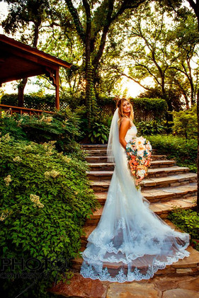 Bridal pictures on outdoor ceremony stairs