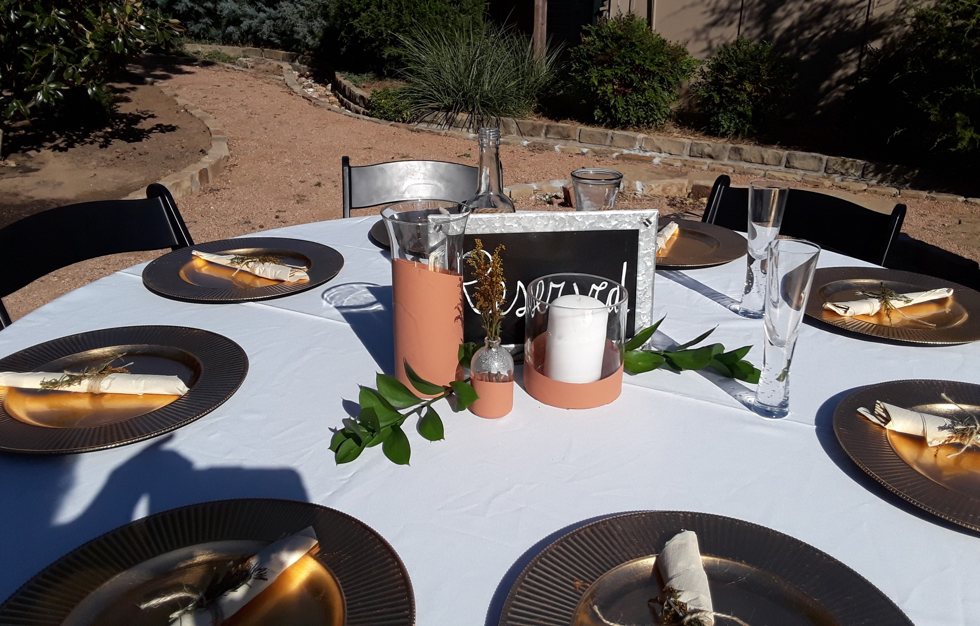 outdoor decor on tables for receptions