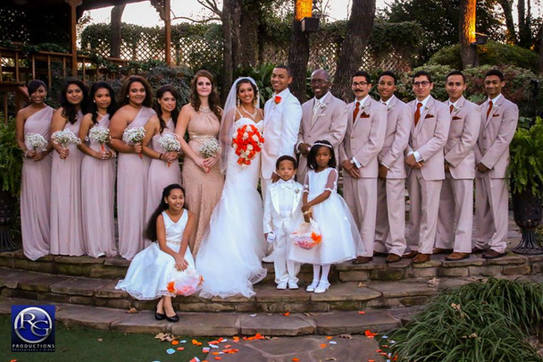 Bridal party after wedding in The Gardens