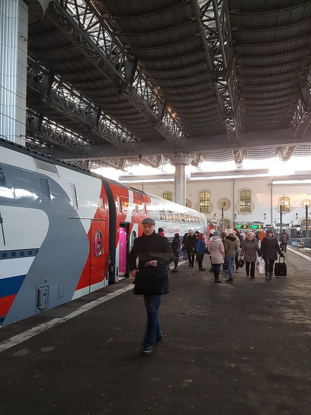 Double-decker train at the Kazansky railway station