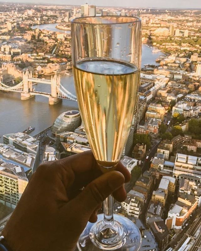 View from the shard with champagne
