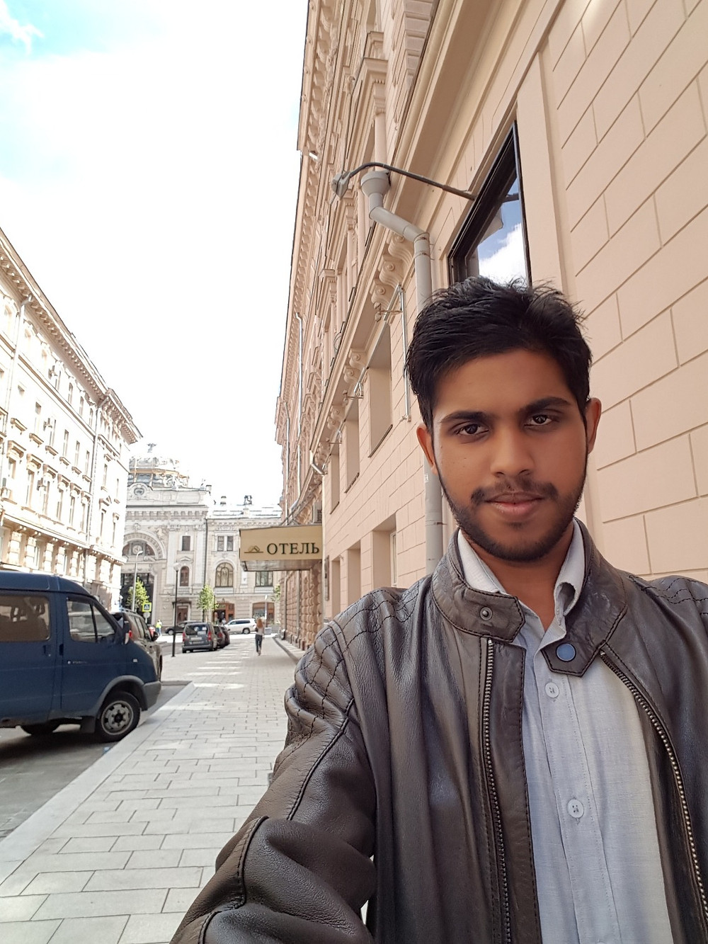 In front of the Budapest Hotel in Moscow
