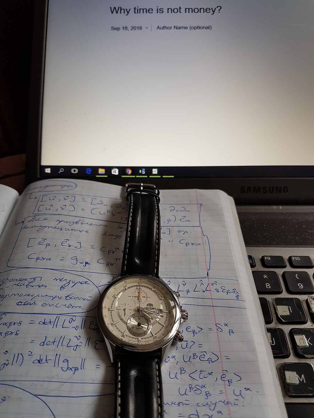 Writing the current post with my notes on general relativity and my watch next to me