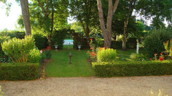 The front garden and pool