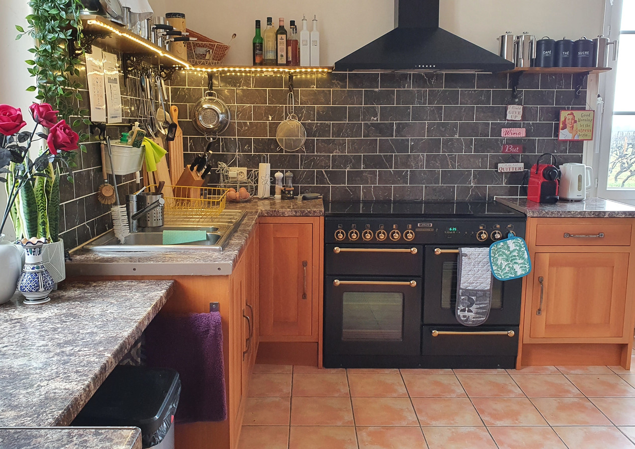 kitchen with double oven.