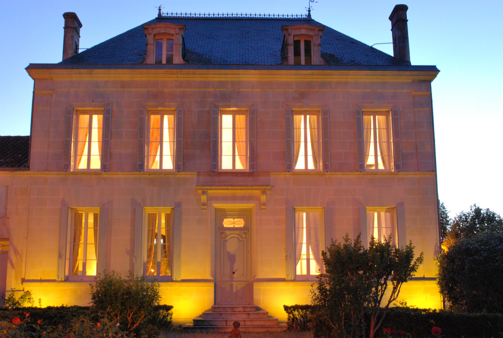 Manor facade in the evening.
