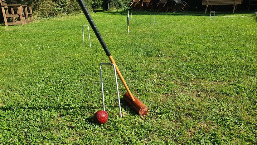 The croquet lawn.