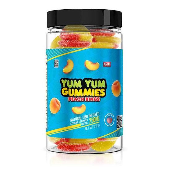 Yum Yum Gummies  CBD Infused Peach Rings (750mg)
