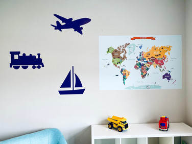 Play room wall transportation silhouettes that we printed and installed.