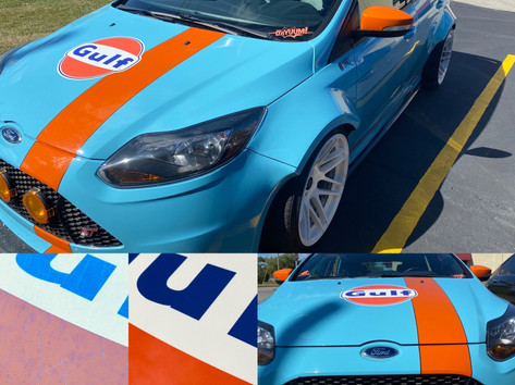 We had the honor of replacing the Gulf decal on this SEMA car featured in Motor Trend Magazine. Check out the before and after after of this graphic.