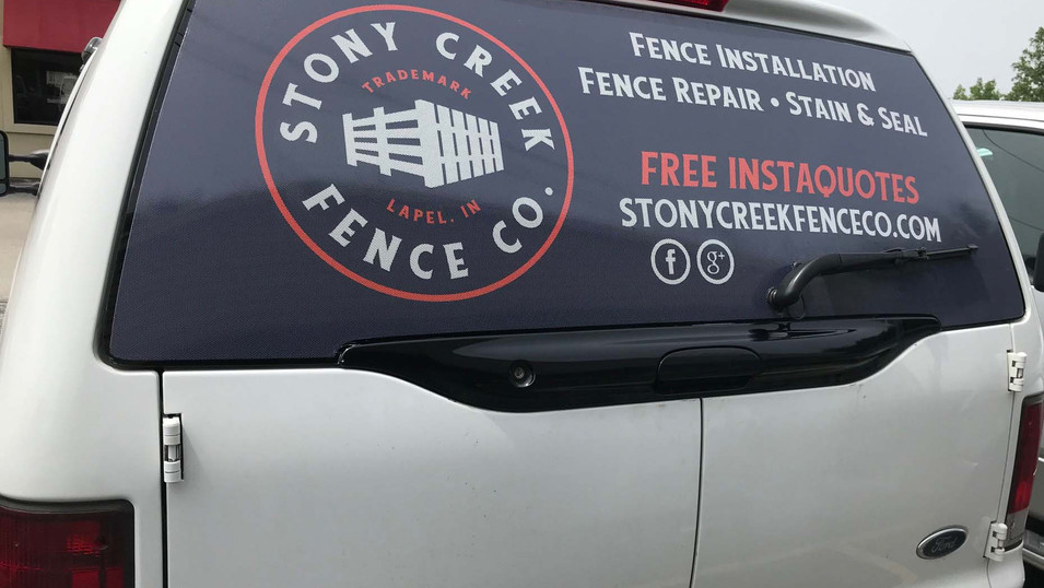 Back window perf that we designed and installed for Stony Creek Fence Company in Lapel.