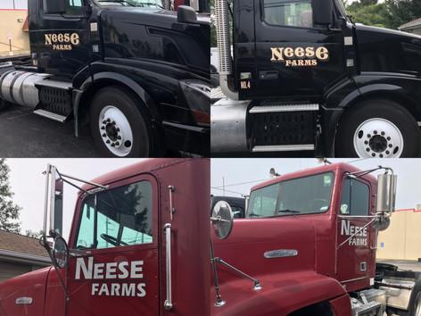 Neese Farm semi trucks that we recreated logos for and applies to their trucks.