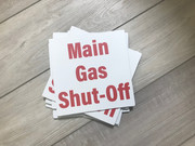 Main Gas Shut-Off sign that we created and printed and applied to ACM for the hospital.