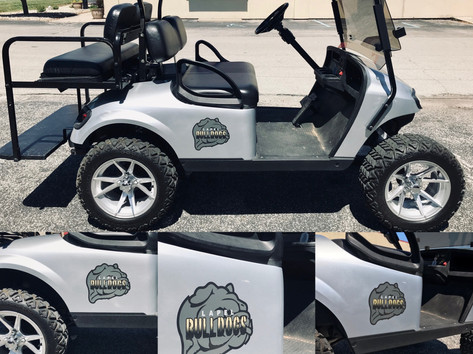We created this unique Lapel Bulldogs decal for this local golf cart.