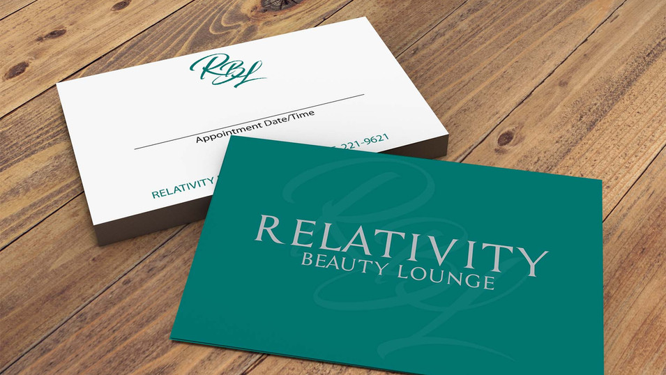 Relativity Beauty Lounge appointment cards that we designed.