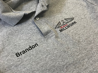 Work polos personalized for Madison Millwork in Anderson.