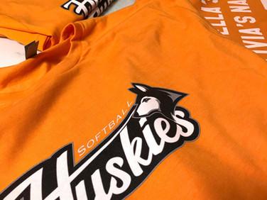 Softball shirts printed for a girls softball team in Cicero.