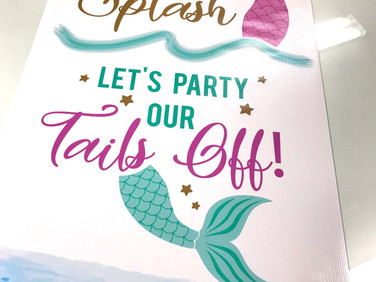 Mermaid banner created for a local bachelorette party.