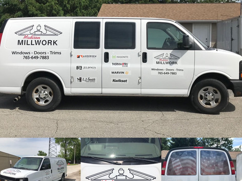 Total van transformation, from decals on the hood and back windows to advertising on both sides.