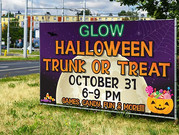 Trunk or Treat banner that we designed and printed for The River Church.