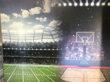 Sport graphic wall designed by us and used as the backdrop for our Lapel Bulldogs Fan Gear.