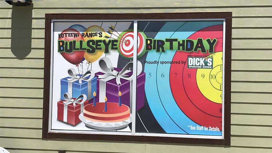 We printed and installed this colorful birthday window perf for the Koteewi Archery Range in Noblesville.