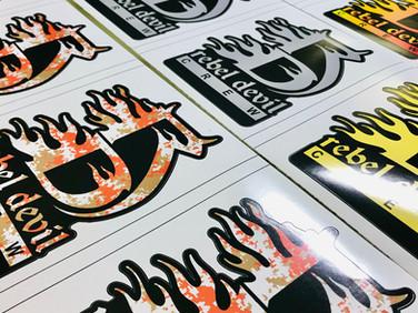 Custom cut decals for Rebel Devil Customs.