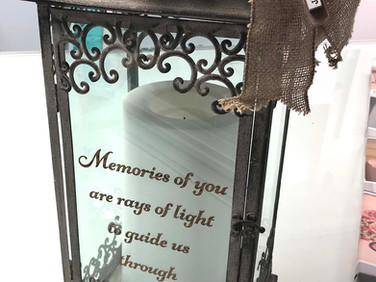 Lettering done for a memorial lantern.