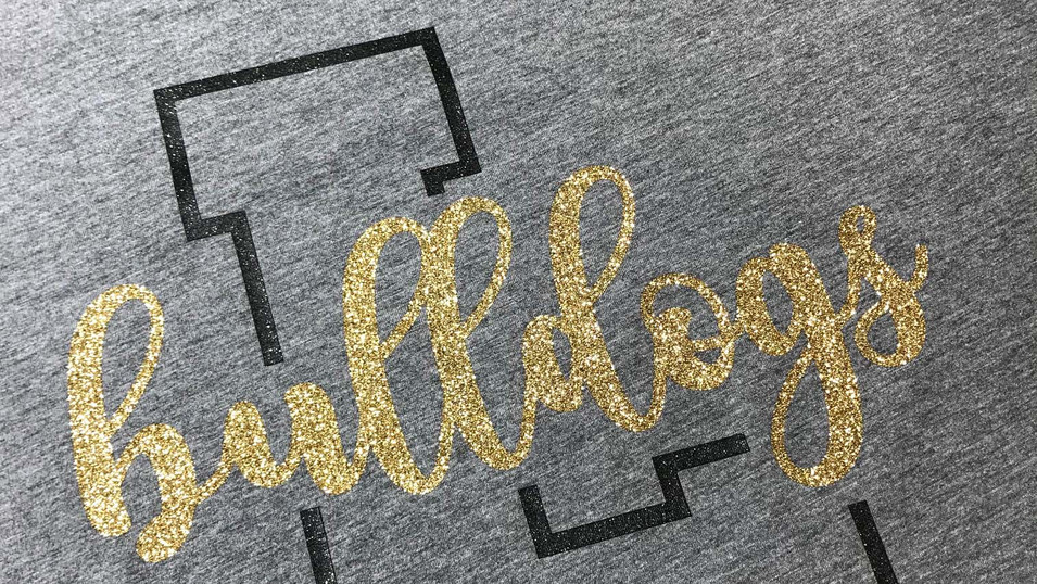 Lapel Bulldogs glitter shirt that we designed and printed for our Fan Shop. Did you know we design all our shirts that we print in our Fan Shop?