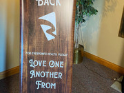 Welcome back banner that we designed and printed for The River Church.