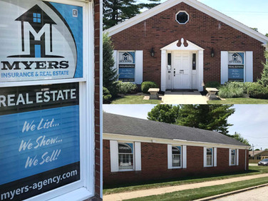 We designed and installed the window perf for Myers Insurance & Real Estate.