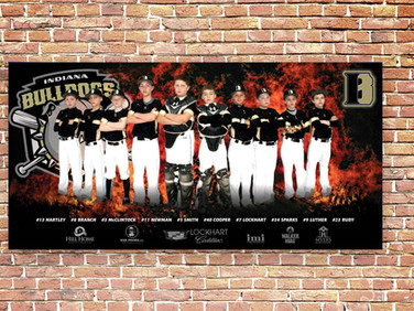 Indiana Bulldogs banner that we designed and printed.