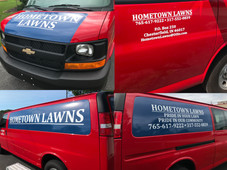 Hometowns Lawns cargo van wrap. The final touch was the window perf that you can view in the Window Perf on our Portfolio Page.