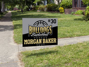 Bulldogs basketball yard sign that we designed and printed.