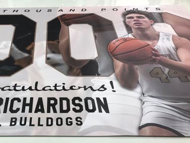 Banner that we designed and printed for Luke Richardson's momentous one thousand point accomplishment.