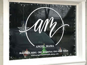 Store window front lettering done for Angel Mama Health and Wellness in Cicero.