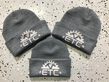 Custom beanies we printed for ETC Renovation and Design.
